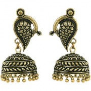 Peacock German Silver Antique Gold Plated Artificial Jewellery Jhumka Earring Set For Women And Girls