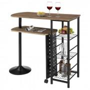 IDIMEX Table haute de bar JOSUA, décor chêne sauvage/noir