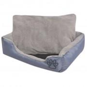 vidaXL Кучешко легло с подплатена възглавница, размер XL, сиво