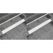 vidaXL 2db lineáris rozsdamentes acél buborék zuhany lefolyó 930x140mm