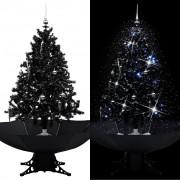 vidaXL Коледна елха с валящ сняг и основа от чадър, черна, 140 см, PVC