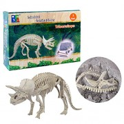 Inditake Children Educational Kit Creative Dinosaur Archaeology Excavation Toys Discovering Dinosaurs Activity Kit (Triceratops)