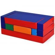 Costway Canapé pour Enfants Convertible 4 en 1 Meubles pour Enfants Puzzle et Table de Jeux Transformable en EPE et PU Imperméable