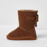 River Island Mini girls Brown faux fur lined boots
