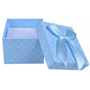 JK Box Světle modrá puntíkatá krabička na soupravu šperků KK-3/A13