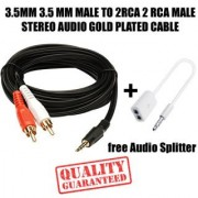3.5MM AUX MALE TO 2RCA MALE STEREO AUDIO Cable For game console systems speakers and more + Free Audio Splitter CodeRS-3718