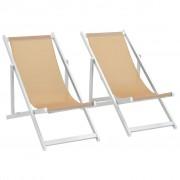 vidaXL Scaune pliante de plajă, 2 buc., crem, aluminiu și textilenă