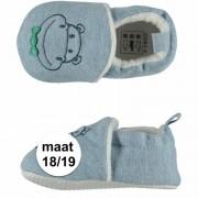 Apollo Geboorte kado jongetje baby slofjes met nijlpaard maat 18/19