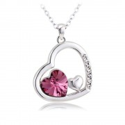 Rosegal 10k or diamant coeur pendentif charmant collier pour les femmes