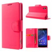 Korean Sonata Wallet Case for Sony Xperia Z3 - Hot Pink
