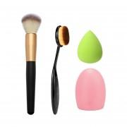 Maquillaje Cepillo Esponja Fundación 4pcs-negro
