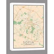 Sofia, Bułgaria mapa kolorowa - obraz na płótnie