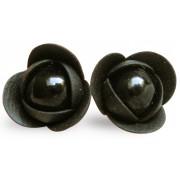 Troli Cercei negri cu flori negre de perle