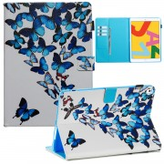 Pattern Printing Leather Wallet Stand Tablet Case for iPad 10.2 (2019) - Blue Butterflies