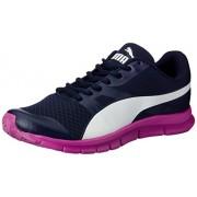 Puma Flexracer Men's Peacoat, White and Purple Cactus Fl DP Sneakers -4 UK/India (37 EU)
