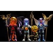 Outer Space Men Cosmic Creators Series 2 Mel Birnkrant Edition Action Figure Set (Alpha 11, Blue Angel Commander Comet, Fire and Ice Electron, Red Devil Mystron)