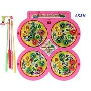 AKSH Fish Catching Game with 4 Pools,32 Small Multicolored Fishes,4 Magnetic Fishing Rods(Battery Operated) (2-4 Players Game) (Catching Game)