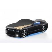 Детско легло тип кола Мустанг Plus със светещи фарове и дънно осветление в черен цвят