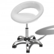 vidaXL Професионален стол за фризьорски салон, въртящ се, бял, овален дизайн
