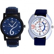 Sports Sixth Art Design And Blue Sport Leather Strap Casual Analog Combo Men's Watch By Taj Avenue