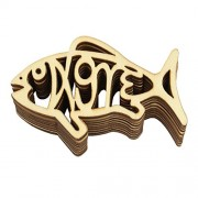 Anbau Pack of 10 Pieces Handcraft Fish Shapes Wooded Pieces Embellishment DIY Wood Crafts