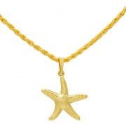 MissMister Gold Plated Star Fish Chain Pendant Locket Necklace God Pendant Temple Jewellery for Men and Women