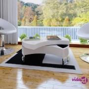 vidaXL Podesivi stolić za kavu bijele boje visokim sjajem