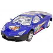 Techege Toys Blue Racing Lambo Super Car Self Driving Bumpn Go Race Car Realistic Sounds Flashing Lights