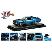 1970 Ford Mustang Boss 302 Dark Aqua Metallic With Black Stripes 1/24 by M2 Machines 40300-48B