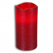 Red real waxLED candle Linda structured 15 cm