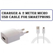Charger with 2 meter V8 Micro USB Cable for Micromax Canvas Fire 4G Plus Q412 CodeZZ-7291