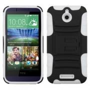 Funda Protector Mixto HTC Desire 510 512 Negro / Blanco c/ pie