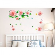 Wall Stickers Roses Vines And Motifs In Pink Romantic Bedroom Design Home Decoration Vinyl