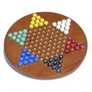 Classic Medium Stained Solid Oak Wood Chinese Checkers Set with Glass Marbles