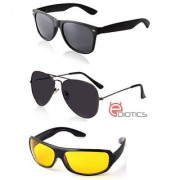 Ediotics Attitude Black Aviator Sunglasses Black Wayfarer Sunglasses Yellow Night Driving Sunglasses Combo