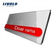 Panou intrerupator simplu+simplu+simplu cu touch Livolo din sticla, gri