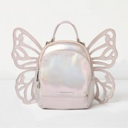 River Island Girls Silver iridescent butterfly backpack
