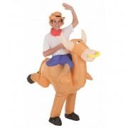 Disfraz Hinchable de Toro con Cowboy - Creaciones Llopis