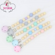 Candy XCQGH Candy Color Pacifier Clip Chain Holder Clip Wood Beads and Round Pumpkin Beads Nipple Dummy Holder