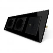 Priza tripla Livolo cu rama din sticla 2 prize simple+TV/internet, negru