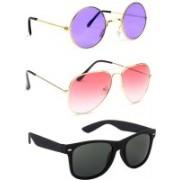 Elligator Round, Aviator, Wayfarer Sunglasses(Violet, Pink, Black)