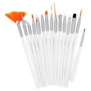 Set 15 Pensule Profesionale Nail Art pentru Pictura Unghiilor White