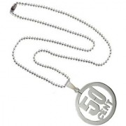 Men Style Laser Cut 50 Cent Carved Hollow Silver Stainless Steel Circle Necklace Pendent For Men And Boys