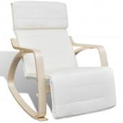 vidaXL Fotel bujany z giętą ramą, materiałowy, regulowany, kremowy