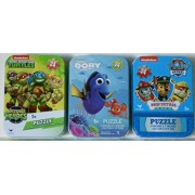 3 Mini Puzzles in Tin Cases Bundle: Finding Dory & Teenage Mutant Ninja Turtles Half Shell Heroes & Paw Patrol - 24 Pieces Per Puzzle
