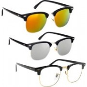Phenomenal Clubmaster Sunglasses(Clear, Silver, Yellow)