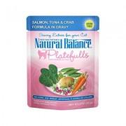 Natural Balance Platefulls Grain-Free Salmon, Tuna & Crab Cat Food Pouches, 3-oz pouch, 24 ct