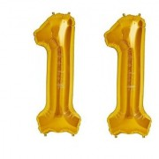 De-Ultimate Solid Golden Color 2 Digit Number (11) 3d Foil Balloon for Birthday Celebration Anniversary Parties