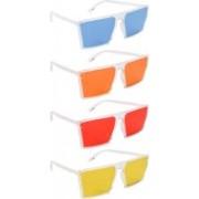 NuVew Retro Square, Wayfarer Sunglasses(Blue, Orange, Red, Yellow)
