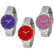 Crude Beautiful Combo of 3 Analog Watch-rg586 With Stainless Steel Strap for - Women's Girl's